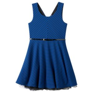 Girls Plus Size Knitworks Cross-Back Sleeveless Skater Dress