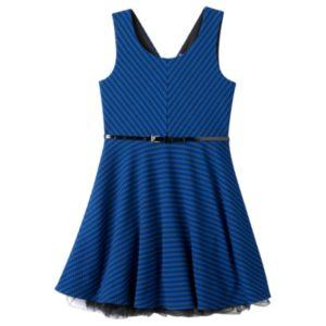 Girls Plus Size Knitworks Cross-Back Sleeveless Skater Dress