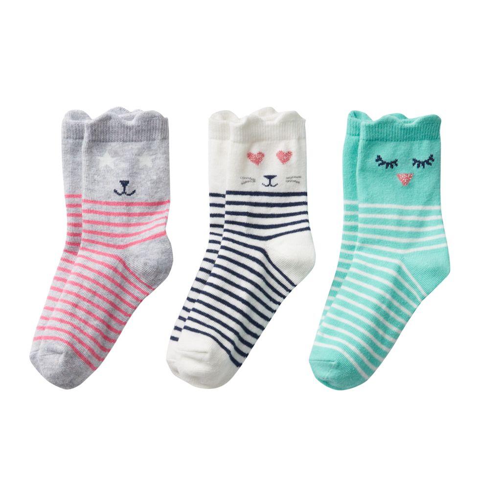 Girls 4-6 Carter's 3-pk. Character Crew Socks