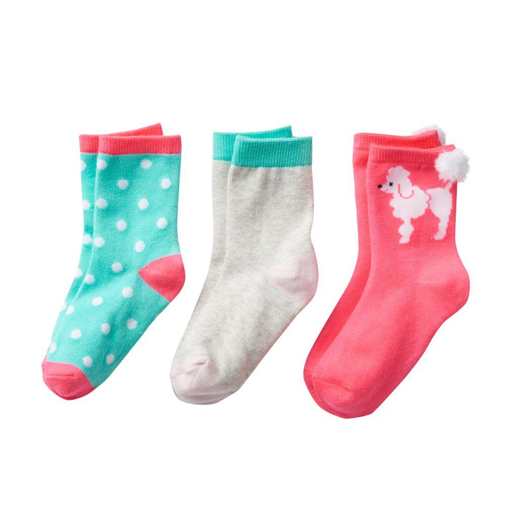 Girls 4-6 Carter's 3-pk. Poodle Crew Socks