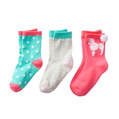 Girls 4-6 Carter's 3 pkPoodle Crew Socks