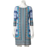 Women's Suite 7 Print Crewneck Shift Dress