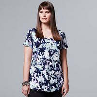 Plus Size Simply Vera Vera Wang Printed Rounded-Hem Tee
