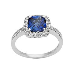 10k White Gold Lab-Created Sapphire & 1/5 Carat T.W. Diamond Cushion Halo Ring