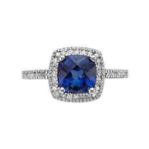 10k White Gold Lab-Created Sapphire & 1/5 Carat T.W. Diamond Cushion Halo Ring