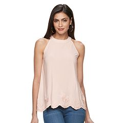 Women's Jennifer Lopez Embroidered Scallop Tank