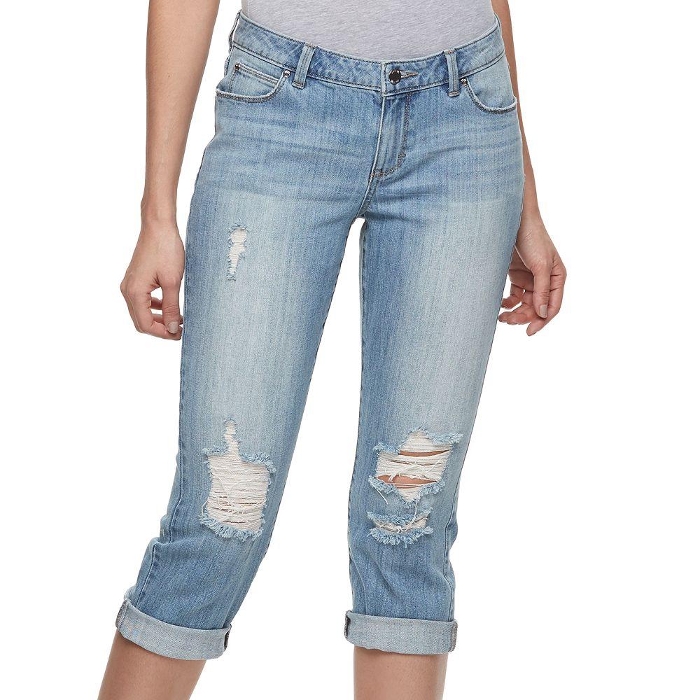Women's Jennifer Lopez Ripped Capri Jeans - Jennifer Lopez Ripped Capri Jeans