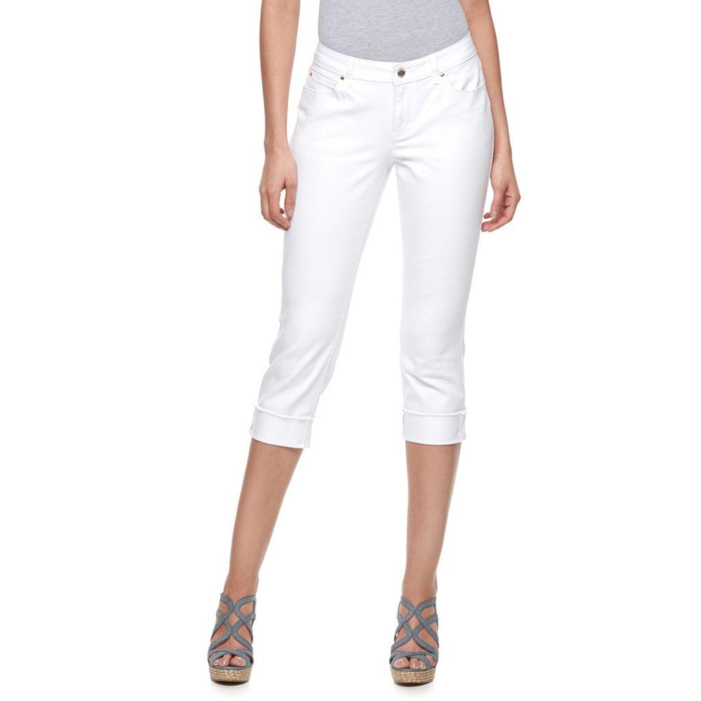 Women's Jennifer Lopez White Cuffed Capri Jeans