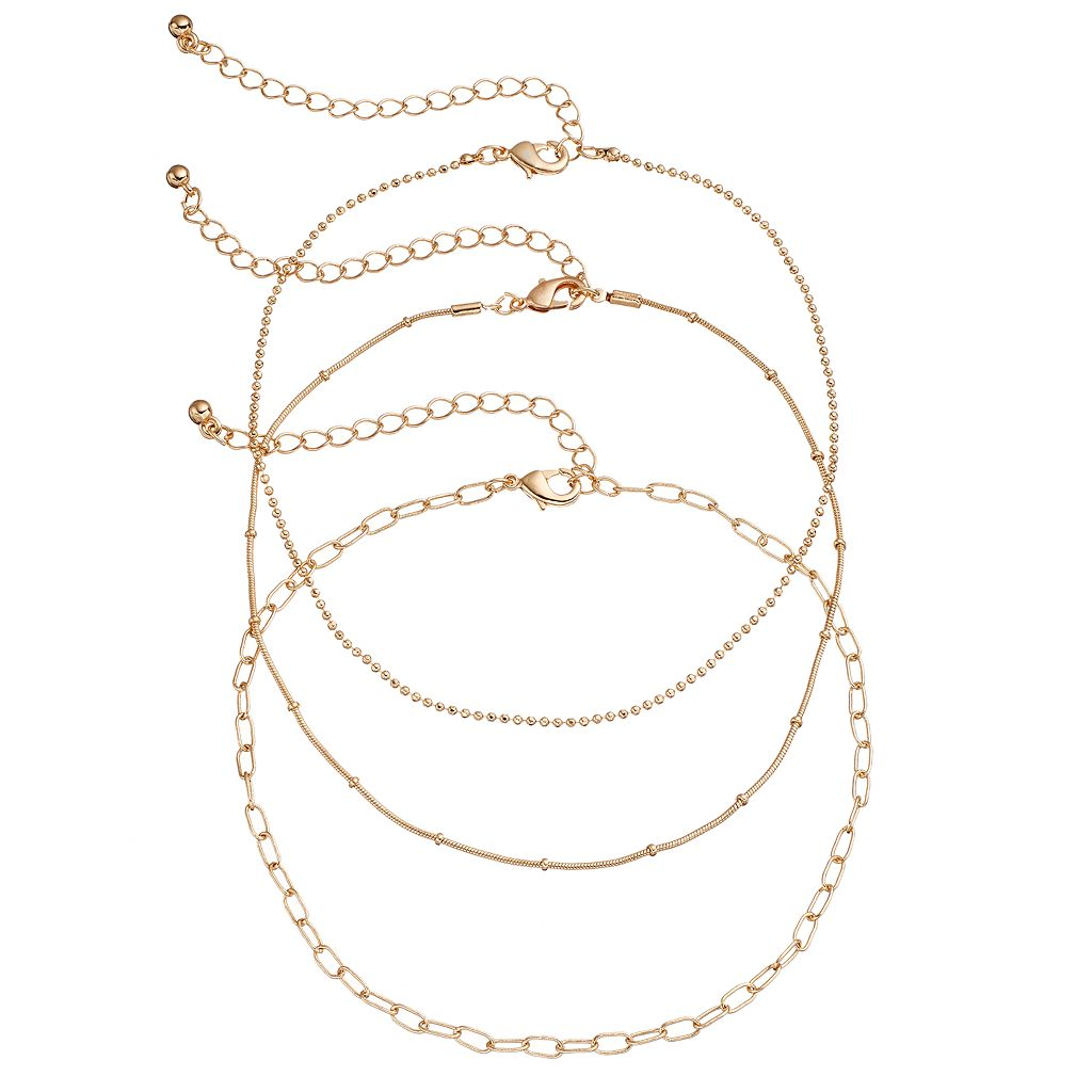 Mudd® Oval Link, Ball Chain & Snake Chain Choker Necklace Set