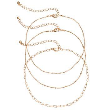 Mudd® Oval Link, Ball Chain & Snake Chain Choker Necklace Set