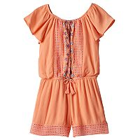 Girls 7-16 My Michelle Printed Embroidery Front Romper