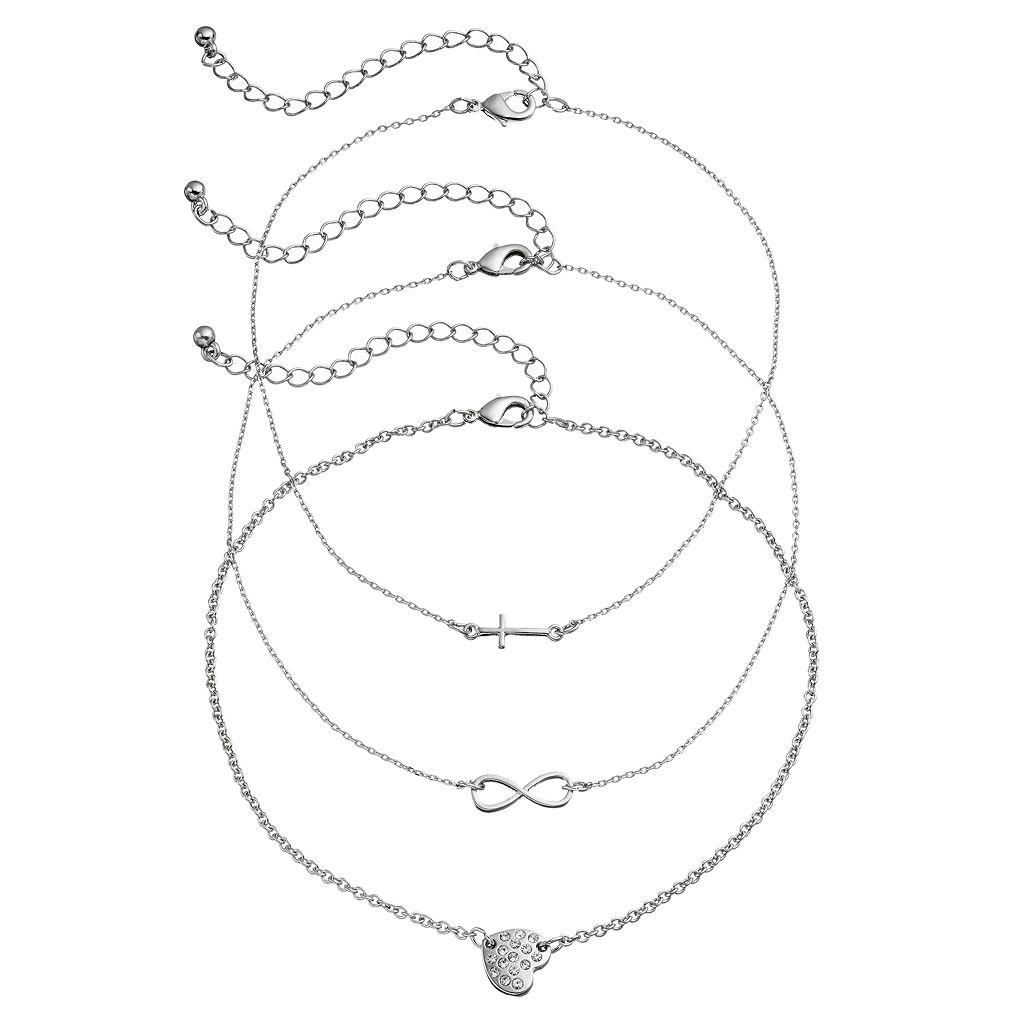 Mudd® Cross, Infinity & Pave Heart Choker Necklace Set