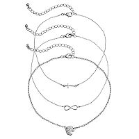 Mudd® Cross, Infinity & Pave Heart Choker Necklace Set
