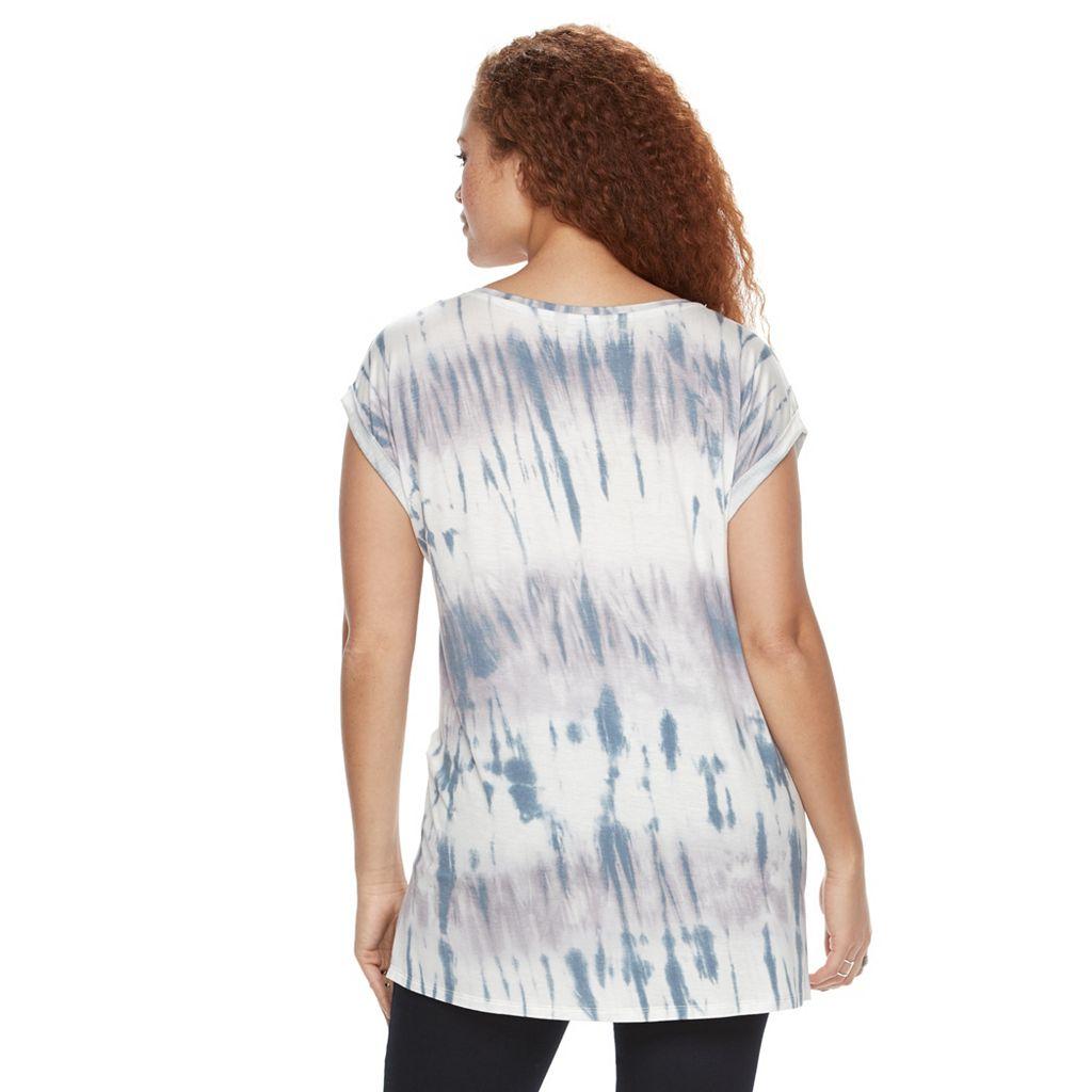Plus Size Rock & Republic® Sequin Tie-Dye Tee
