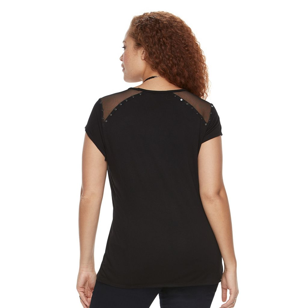Plus Size Rock & Republic® Studded Mesh Tee