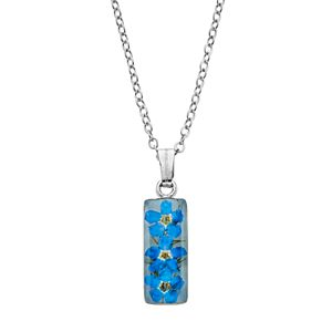 Silver Plated Forget-Me-Not Rectangle Pendant Necklace