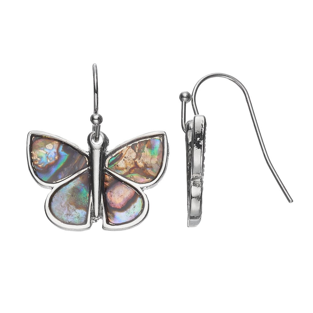 Mudd® Simulated Abalone Butterfly Drop Earrings