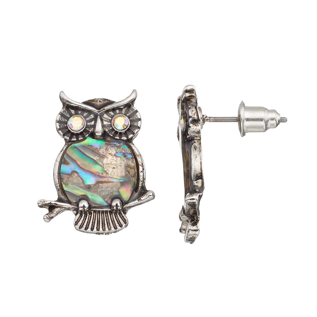 Mudd® Simulated Abalone Owl Drop Earrings