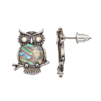 Mudd® Simulated Abalone Owl Drop Earrings