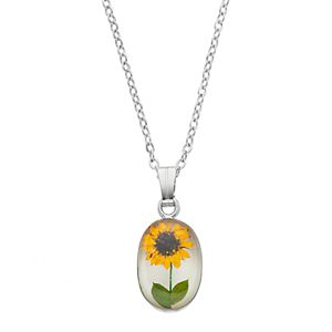 Silver Plated Sunflower Oval Pendant Necklace