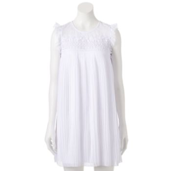 Juniors' Lily Rose Pleated Lace Yoke Dress