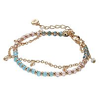 LC Lauren Conrad Blue Beaded Double Strand Bracelet