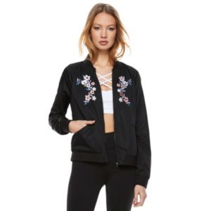 madden NYC Juniors' Embroidered Bomber Jacket