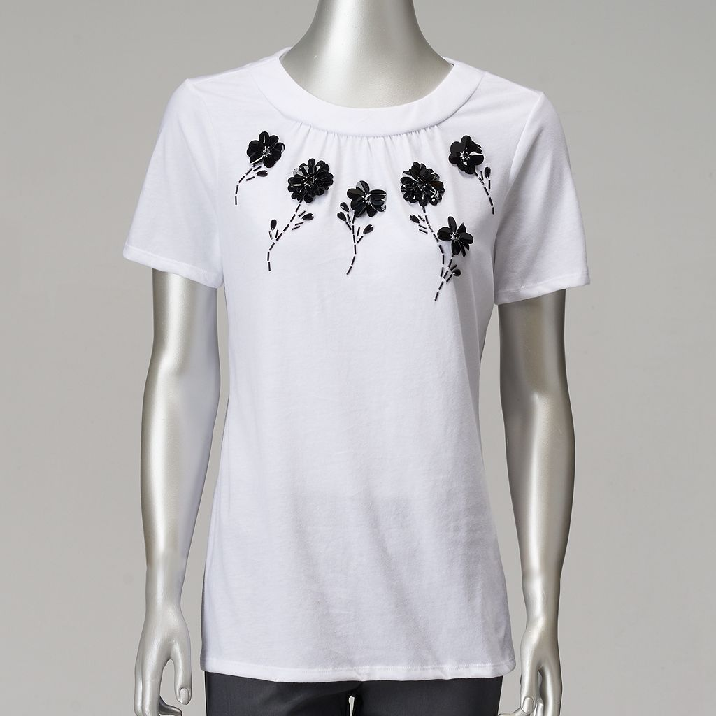 Women's Simply Vera Vera Wang Floral Pailette Tee
