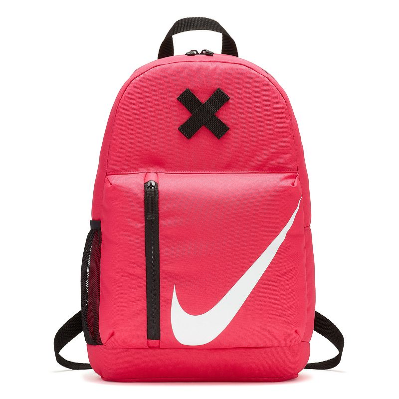 Kids Nike Elmntl Backpack, Pink Stay ready for class, practice and everything in between with this Nike Elmntl youth backpack. Durable 600-denier polyester construction 2 large main compartments with dual-zip access provide space for supplies and equipment Secondary pocket with side zipper opening for easy access Removable pencil case adds convenient storage Side pocket provides water bottle storage Adjustable, padded shoulder straps for a custom fit 18 H x 12 W x 5 D Weight: 1 lb. Polyester Zipper closure Model no. BA5405 Size: One size. Color: Pink. Gender: Unisex.