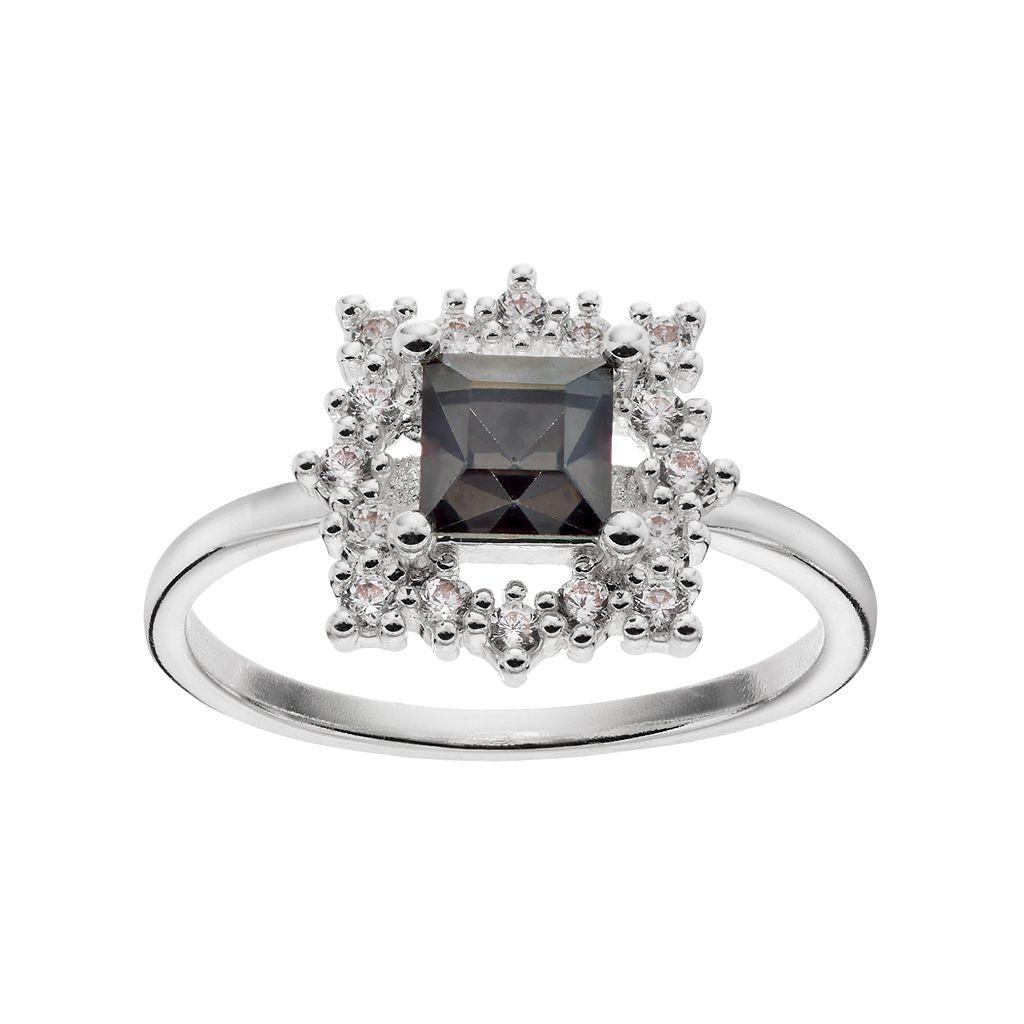 LC Lauren Conrad Black Square Halo Ring
