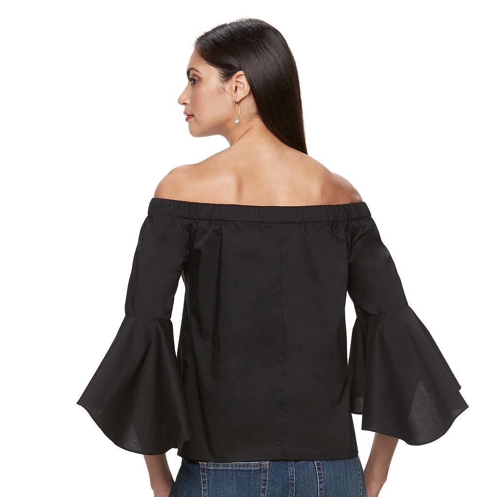 Petite Jennifer Lopez Solid Off-the-Shoulder Top