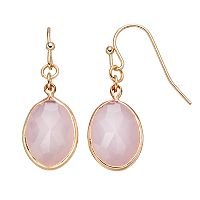 LC Lauren Conrad Pink Faceted Oval Drop Earrings