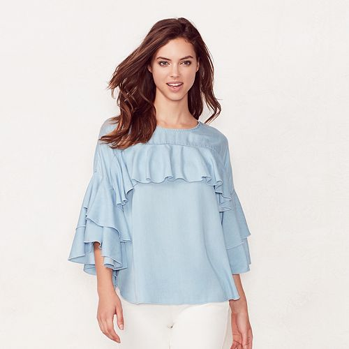 Women's LC Lauren Conrad Ruffle Chambray Top