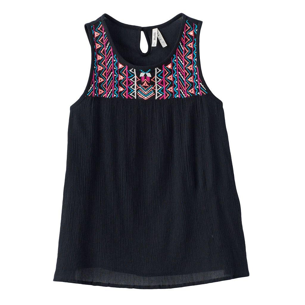Girls 7-16 Mudd® Embroidered Yoke Gauze Tank Top