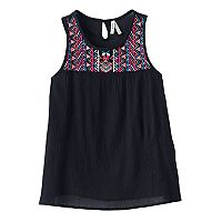 Girls 7-16 Mudd® Embroidered Yoke Gauze Tank Top