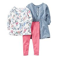 Toddler Girl Carter's Polka-Dot Chambray Dress, Floral Henley Tee & Leggings Set