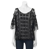 Mudd® Crocheted Lace Cold Shoulder Poncho