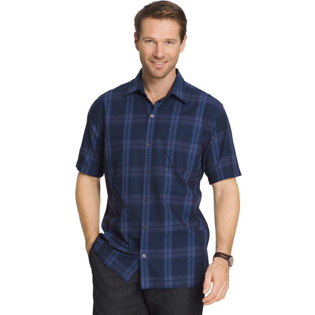 Men's Van Heusen Classic-Fit Plaid Textured Button-Down Shirt