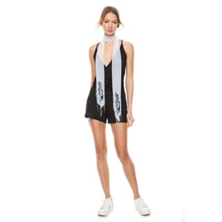 madden NYC Embroidered Feather Chiffon Skinny Scarf