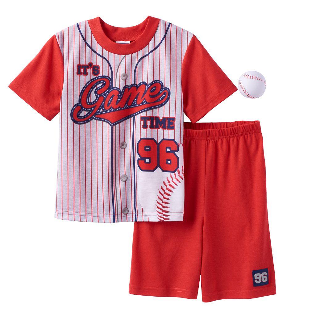 Boys 4-12 Baseball 2-Piece Pajama Set