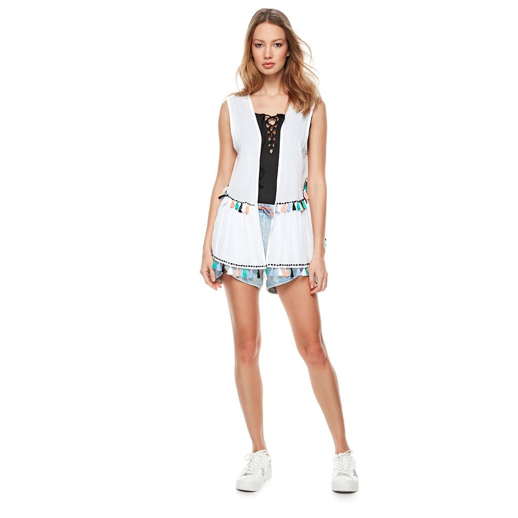 madden NYC Multi Color Tassel Vest