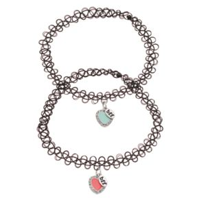 "Mudd® ""BFF"" Heart Charm Tattoo Choker Necklace Set"
