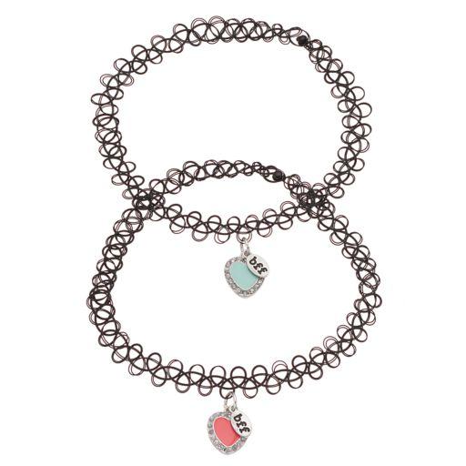 """Mudd® """"BFF"""" Heart Charm Tattoo Choker Necklace Set"""
