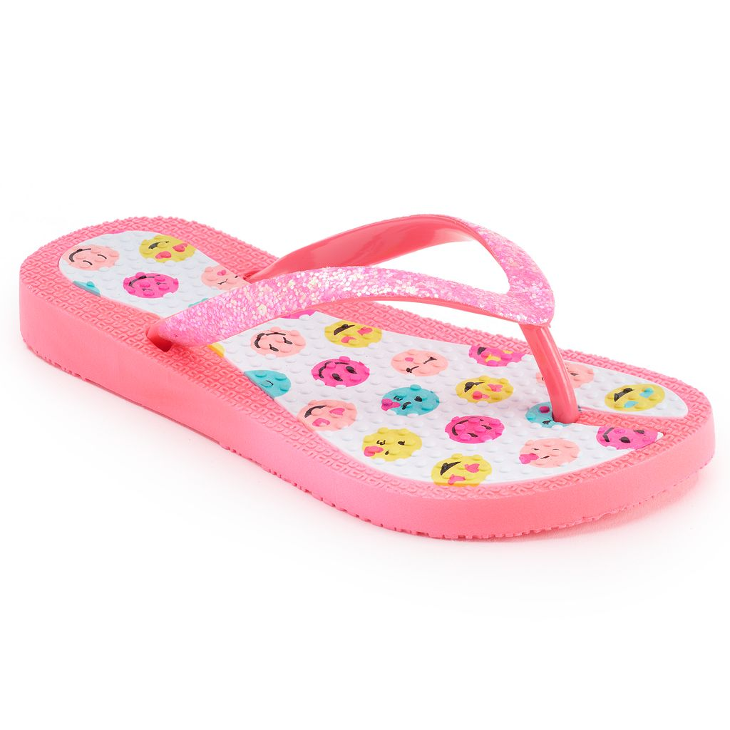 Girls 4-16 Smiley Emoji Jelly Flip Flops
