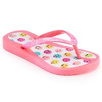 Girls 4-16 Smiley Emoji Jelly Flip Flops
