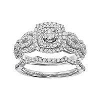Sterling Silver 3/8 Carat T.W. Diamond Cushion Halo Engagement Ring Set