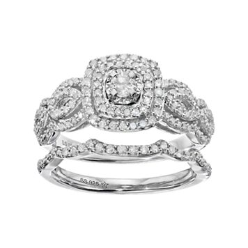 Sterling Silver 3/8 Carat T.W. Diamond Cushion Halo Engagement Ring Set