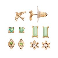 LC Lauren Conrad Green Flower, Bird & Rectangular Stud Earring Set
