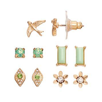 LC Lauren Conrad Green Flower, Bird & Rectangular Stud Earring Set