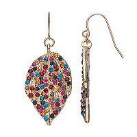 Mudd® Multi Color Stone Leaf Drop Earrings